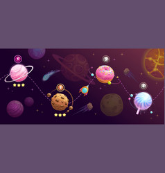 Food planets set rocket space trip concept vector