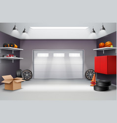 Garage interior realistic composition vector