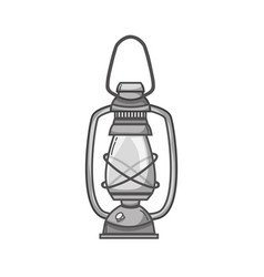 Grayscale old lamp hand retro style vector