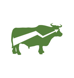 Green bull up arrow exchange trader business vector