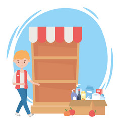 Guy with sold out shelf and cardboard box full vector