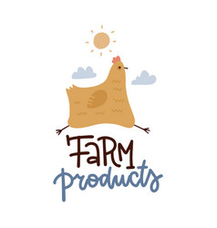 hand drawn logo farm products a cheerful vector image