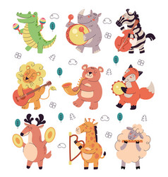 happy smiling animals characters play music vector image