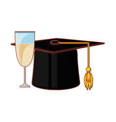 hat graduation with cup champagne vector image