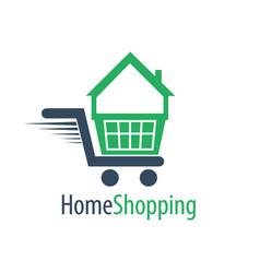 home shopping cart logo concept design symbol vector image