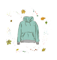 Hoodie of mint color clothing on the background vector