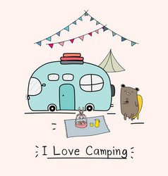 I love camping concept with cute bear and camping vector