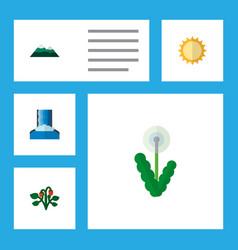 icon flat bio set of dandelion sun mountain vector image