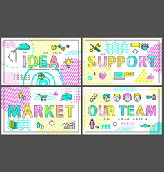 idea and clients support set vector image