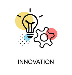 Innovation icon with light bulb and gear on white vector