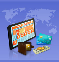 internet shopping payment realistic composition vector image