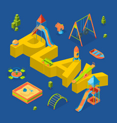 isometric playground objects around word vector image
