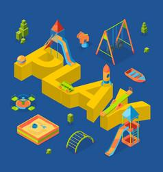 Isometric playground objects around word vector
