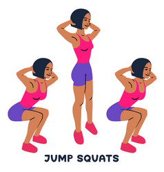Jump squats squat sport exersice silhouettes of vector
