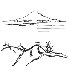 landscape hand drawn vector image