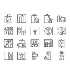 lift line icon set vector image
