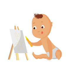 little boy drawing picture vector image
