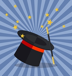 Magician hat with wand vector