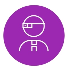 Man in augmented reality glasses line icon vector