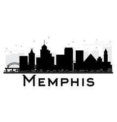 Memphis city skyline black and white silhouette vector