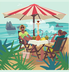 Men smoking hookah on tropical beach vector