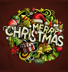merry christmas hand drawn doodles vector image
