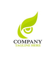 modern owl eye and leafl logo vector image