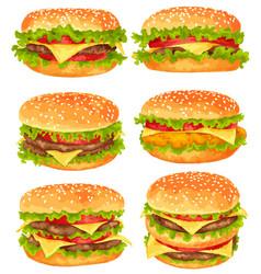 Modern watercolor design set big burgers vector