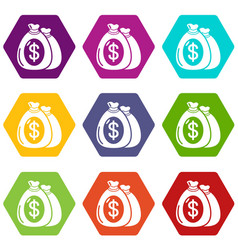 money bag icons set 9 vector image