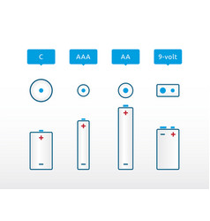 most popular types of battery with the label vector image