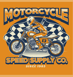 Motorcycle rider and checkered flag vector