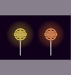 Orange and yellow neon lollipop vector
