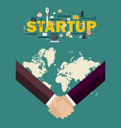 partnership handshake startup concept vector image