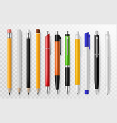 pen and pencil stationery tools for writing vector image