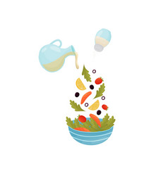 pour ingredients for salad with fish vector image