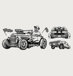 powerful retro custom cars vintage concept vector image