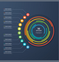 presentation infographic circle chart 10 options vector image vector image