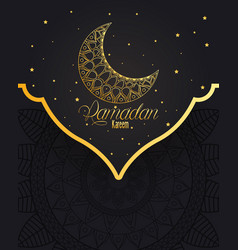 Ramadan kareem card with lettering and golden moon vector