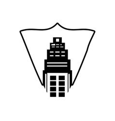 real estate building tower stamp outline vector image