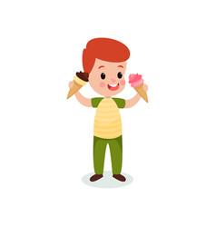 redhead boy holding two ice creams cartoon vector image