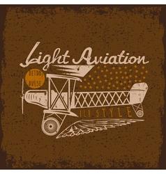 retro aviation grunge design with airplane vector image