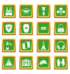 Safety icons set green vector