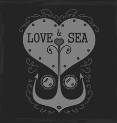 Sea emblem monochromeVS vector