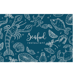 seafood restaurant poster or menu vector image