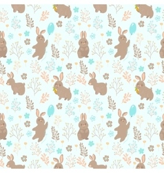 seamless pattern with rabbit and flower vector image