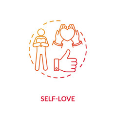 Self love red gradient concept icon vector
