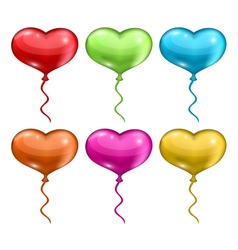 set colorful balloons in the shape of hearts vector image