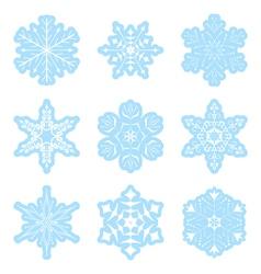set - light blue snowflakes vector image