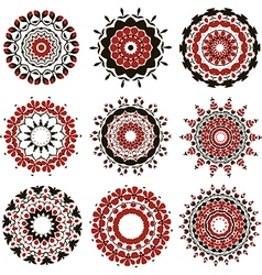 Set of black and red mandalas vector