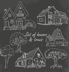 Set of houses and trees on black vector image